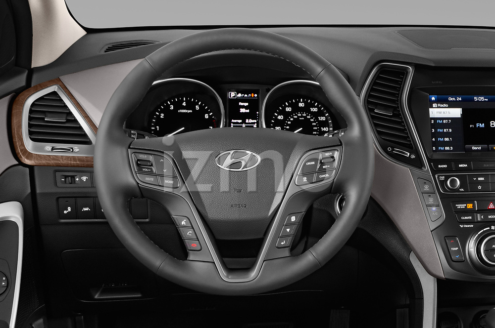 Car pictures of steering wheel view of a 2019 Hyundai Santa FE XL Limited Ultimate 5 Door SUV