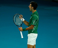 2nd February 2020; Melbourne Park, Melbourne, Victoria, Australia; Australian Open Tennis, Mens singles final on Day 14; Novak Djokovic of Serbia celebrates a point during his singles final match against Dominic Thiem of Austria