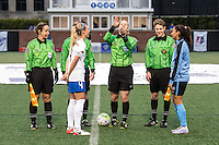 Allston, MA - Saturday, May 07, 2016: Boston Breakers defender Whitney Engen (4) and Chicago Red Stars forward Christen Press (23) watch the coin toss at the beginning of a regular season National Women's Soccer League (NWSL) match at Jordan Field.