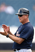 Tampa Yankees manager Al Pedrique (13) during a game against the Daytona Cubs on April 13, 2014 at George M. Steinbrenner Field in Tampa, Florida.  Tampa defeated Daytona 7-3.  (Mike Janes/Four Seam Images)