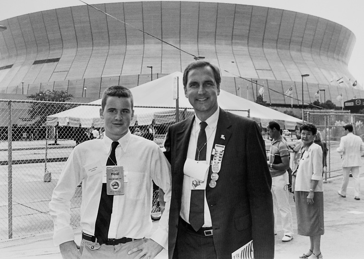 "Rep. Robert Linlithgow ""Bob"" Livingston, D- La., House Appropriations Committee Chair, with his son David. November 9, 1988 (Photo by Andrea Mohin/CQ Roll Call)"