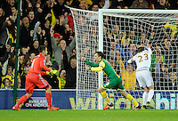 Jonny Howson of Norwich City celebrates scoring past Swansea City Goalkeeper Lukasz Fabianski, 1-0, during the Barclays Premier League match between Norwich City and Swansea City played at Carrow Road, Norwich on November 7th 2015