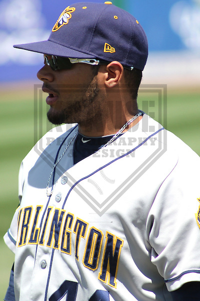 APPLETON - MAY 2011: A.J. Kirby-Jones (44) of the Burlington Bees, Class-A affiliate of the Oakland A's, during a game on May 22, 2011 at Fox Cities Stadium in Appleton, Wisconsin. (Photo by Brad Krause) ........