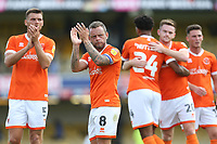 Blackpool's Jay Spearing applauds the Blackpool fans at the end of the game<br /> <br /> Photographer Rob Newell/CameraSport<br /> <br /> The EFL Sky Bet Championship - Southend United v Blackpool - Saturday 10th August 2019 - Roots Hall - Southend<br /> <br /> World Copyright © 2019 CameraSport. All rights reserved. 43 Linden Ave. Countesthorpe. Leicester. England. LE8 5PG - Tel: +44 (0) 116 277 4147 - admin@camerasport.com - www.camerasport.com