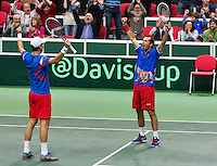 01-02-14,Czech Republic, Ostrava, Cez Arena, Davis Cup Czech Republic vs Netherlands,   Berdych/Stepanek(R)(CZE) win the double and celebrate<br /> Photo: Henk Koster