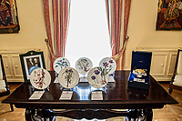 Pictured: The gifts presented to Prince Charles and his wife the Duchess of Cornwall by Greek President Prokopis Pavlopoulos and his wife at the Presidential Mansion in Athens, Greece. Wednesday 09 May 2018 <br /> Re: Official visit of HRH Prnce Charles and his wife the Duchess of Cornwall to Athens, Greece.
