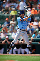 Tampa Bay Rays designated hitter Austin Meadows (17) at bat during a Grapefruit League Spring Training game against the Baltimore Orioles on March 1, 2019 at Ed Smith Stadium in Sarasota, Florida.  Rays defeated the Orioles 10-5.  (Mike Janes/Four Seam Images)
