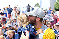 July 26, 2018: New England Patriots wide receiver Julian Edelman (11) give his 20 month old daughter Lily Edelman a kiss at the New England Patriots training camp held on the practice fields at Gillette Stadium, in Foxborough, Massachusetts. Eric Canha/CSM