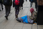 Homeless rough sleeper, London Charing Cross.