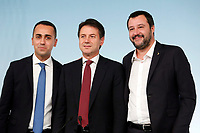 Luigi Di Maio, Giuseppe Conte, Matteo Salvini <br /> Roma 20/10/2018. Consiglio dei Ministri sulla Manovra Economica DEF.<br /> Rome October 20th 2018. Minister's Cabinet about the Economic and Financial Document.<br /> Foto Samantha Zucchi Insidefoto