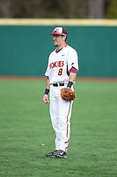 Virginia Tech Hokies second baseman Alex Perez (8) on defense against the Toledo Rockets at The Ripken Experience on February 28, 2015 in Myrtle Beach, South Carolina.  The Hokies defeated the Rockets 1-0 in 10 innings.  (Brian Westerholt/Four Seam Images)