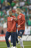 Ricardo Clark and Michael Bradley talk strategy  before the game. USA and Mexico tied, 2-2, in an international friendly at Reliant Stadium, Houston, Texas on February 6, 2008.