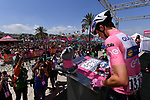 Race leader Maglia Rosa Bob Jungels (LUX) Quick-Step Floors signs on before the start of Stage 8 of the 100th edition of the Giro d'Italia 2017, running 189km from Molfetta to Peschici, Italy. 1th May 2017.<br /> Picture: LaPresse/Gian Mattia D'Alberto | Cyclefile<br /> <br /> <br /> All photos usage must carry mandatory copyright credit (&copy; Cyclefile | LaPresse/Gian Mattia D'Alberto)