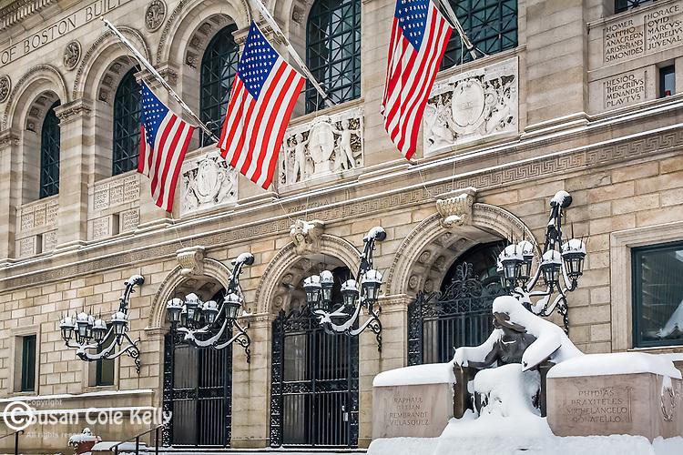 Boston Public Library in Copley Square after a winter storm, Boston, MA, USA