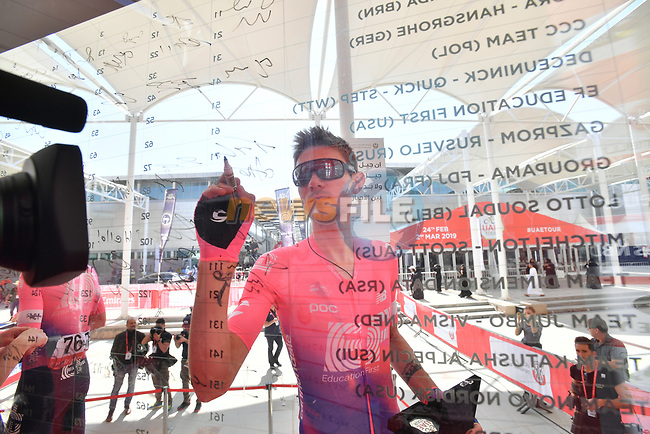 Tejay Van Garderen (USA) EF Education First signs on before the start of Stage 3 of the 2019 UAE Tour, running 179km form Al Ain to Jebel Hafeet, Abu Dhabi, United Arab Emirates. 26th February 2019.<br /> Picture: LaPresse/Massimo Paolone | Cyclefile<br /> <br /> <br /> All photos usage must carry mandatory copyright credit (© Cyclefile | LaPresse/Massimo Paolone)
