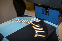 Paris Cowan-Hall of Wycombe Wanderers shirt get printed during the Sky Bet League 2 match between Wycombe Wanderers and Leyton Orient at Adams Park, High Wycombe, England on 23 January 2016. Photo by Andy Rowland / PRiME Media Images.