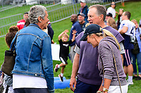 August 8, 2017: Galynn Patricia Brady talks to New England Patriots head coach Bill Belichick and Linda Holliday at the New England Patriots training camp held at Gillette Stadium, in Foxborough, Massachusetts. Eric Canha/CSM