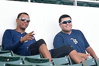 GCL Rays pitchers Mario Adames and Mike Franco in the stands during a game against the GCL Red Sox on June 25, 2014 at JetBlue Park at Fenway South in Fort Myers, Florida.  GCL Red Sox defeated the GCL Rays 7-0.  (Mike Janes/Four Seam Images)