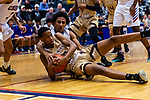 WATERBURY, CT. 10 January 2020-011020BS527 - Cosby's Justin Davis (1) and Sacred Heart's Davon Ellison (3) battle for a loose ball, during a NVL cross city Boys Basketball game between Sacred Heart and Crosby at the Palace at Crosby High in Waterbury on Friday. Bill Shettle Republican-American