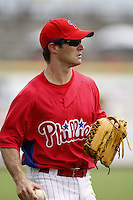 July 10, 2009:  Outfielder David Hissey (38) of the GCL Phillies during a game at Bright House Networks Field in Clearwater, FL.  The GCL Phillies are the Gulf Coast Rookie League affiliate of the Philadelphia Phillies.  Photo By Mike Janes/Four Seam Images