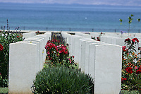 Pictured: World War II cemetery in Souda, near Chania, Crete, Greece. Tuesday 08 July 2014<br /> Re: Police from north Wales helping in the search for a missing Denbigh pensioner in Crete want to track down two Welsh tourists who visited the Greek island.<br /> Arthur Jones, 73, from Denbighshire, has not been seen since 19 June, two days after he arrived in Crete.<br /> The officers found Mr Jones's name in a visitors' book from the day before he disappeared, written just before two Welsh tourists signed it.<br /> They hope Mr Jones might have spoken to them of his plans for a walking tour.