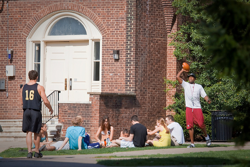Various Spring Scenics on campus during April of 2010: Students pass the time in front of Gates Hall