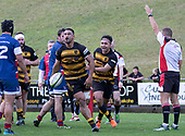 Tofaga Iese celebrates after scoring a telling try for Bombay. Counties Manukau Premier 1 McNamara Cup Final between Ardmore Marist and Bombay, played at Navigation Homes Stadium on Saturday July 20th 2019.<br />  Bombay won the McNamara Cup for the 5th time in 6 years, 33 - 18 after leading 14 - 10 at halftime.<br /> Photo by Richard Spranger.