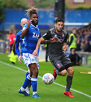 Lincoln City's Tom Pett vies for possession with Macclesfield Town's Tyrone Marsh<br /> <br /> Photographer Andrew Vaughan/CameraSport<br /> <br /> The EFL Sky Bet League One - Macclesfield Town v Lincoln City - Saturday 15th September 2018 - Moss Rose - Macclesfield<br /> <br /> World Copyright &copy; 2018 CameraSport. All rights reserved. 43 Linden Ave. Countesthorpe. Leicester. England. LE8 5PG - Tel: +44 (0) 116 277 4147 - admin@camerasport.com - www.camerasport.com
