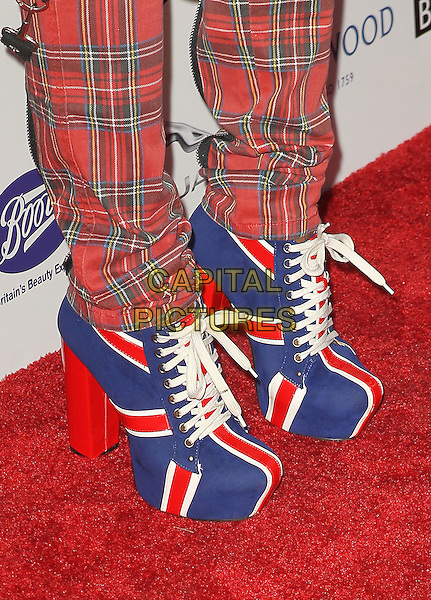 "Downtown Julie Brown's shoes.7th Annual BritWeek Festival ""A Salute To Old Hollywood"" Launch Party held at the British Consul General's Residence, Los Angeles, California, USA..April 23rd, 2013.detail feet heels boots red blue white union jacket tartan plaid trousers .CAP/ADM/KB.©Kevan Brooks/AdMedia/Capital Pictures"