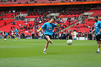 James Hardy of AFC Flyde warming up during AFC Fylde vs Salford City, Vanarama National League Play-Off Final Football at Wembley Stadium on 11th May 2019