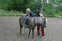 Shetland-Pony, Shetlandpony, Shetty, Shetti, Ponyhof, Shetland - Pony wird eingeritten, Kind, Mädchen steigt in den Sattel, Reitlehrerin hilft, Reiten