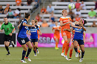 Houston, TX - Sunday June 19, 2016: Janine Beckie, Desiree Scott during a regular season National Women's Soccer League (NWSL) match between the Houston Dash and FC Kansas City at BBVA Compass Stadium.