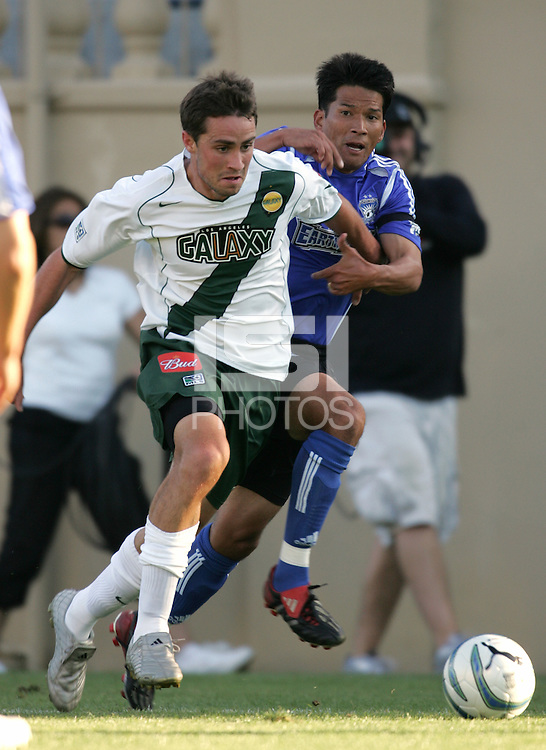 25 June 2005:   Mark Chung of Earthquakes fights for the ball against Todd Dunivant of LA Galaxy at Spartan Stadium in San Jose, California.   Earthquakes defeated LA Galaxy, 3-0.  Mandatory Credit: Michael Pimentel / ISI