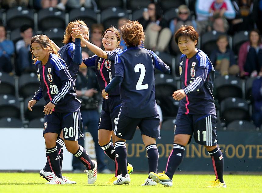 Japan's Nahomi Kawasumi celebrates her goal<br /><br /> (Photo by Mick Walker/CameraSport) <br />Women's International Football Friendly - England v Japan - Wednesday 26th June 2013 - Pirelli Stadium - Burton<br /><br /> &copy; CameraSport - 43 Linden Ave. Countesthorpe. Leicester. England. LE8 5PG - Tel: +44 (0) 116 277 4147 - admin@camerasport.com - www.camerasport.com