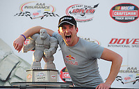 May 30, 2008; Dover, DE, USA; Nascar Craftsman Truck Series driver Scott Speed celebrates after winning the AAA Insurance 200 at Dover International Speedway. Mandatory Credit: Mark J. Rebilas-US PRESSWIRE.