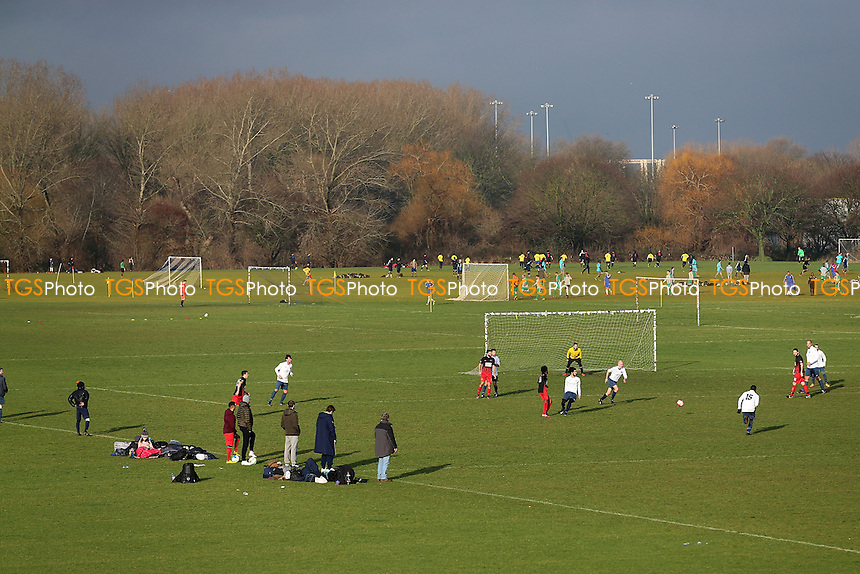 General view of matches on the East Marsh during Hackney & Leyton Sunday League Football at Hackney Marshes on 8th January 2017