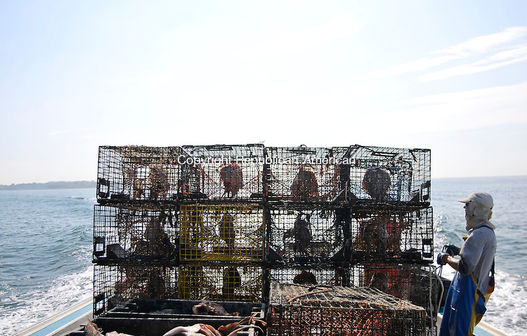 STONINGTON, CT - 17 July 2012-071712EC08--    The view from the back of the fishing boat, where skates hang in lobster traps and are ready to be thrown back into the water.  For four generations, the Maderia family out of Stonington has been commercial fishing off the coast.  The state Department of Energy and Environmental Protection announced last week that it has launched a study into why the state's lobster catch has dwindled from 3.7 million pounds in 1998 to just 142,000 pounds in 2011.  The Maderias say this year has been one of their best in a dozen years.  Erin Covey Republican American.