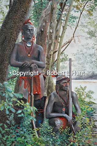 "Two painted warrior sons of Delaware Indian Chief Nemacolin pose in the woods in full body paint and carrying flintlock muskets, western Pennsylvania circa 1740. Oil on canvas, 15"" x 10""."