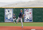 March 24, 2012: BYU Cougars shortstop Tanner Chauncey throws to frist against the Nevada Wolf Pack during their NCAA baseball game played at Peccole Park on Thrusday afternoon in Reno, Nevada.
