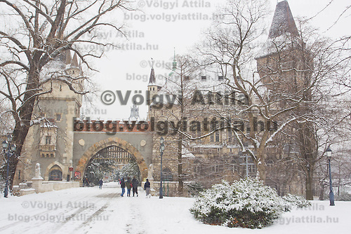 Tourists visit a snow covered castle in Budapest, Hungary on February 17, 2012. ATTILA VOLGYI