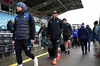 James Wilson and the rest of the Bath Rugby team arrive at the stadium. Aviva Premiership match, between Harlequins and Bath Rugby on March 2, 2018 at the Twickenham Stoop in London, England. Photo by: Patrick Khachfe / Onside Images