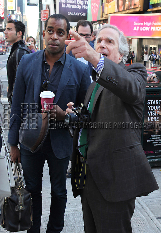 "Actor Daniel Breaker and actor Henry Winkler attends press event to introduce the cast and creators of the new Broadway play ""The Performers""at the Hard Rock Cafe on Tuesday, Sept. 25, 2012 in New York."
