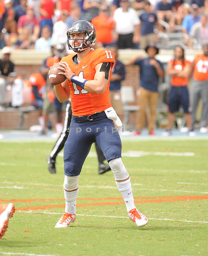 Virginia Cavaliers Grayson Lambert (11) during a game against the UCLA Bruins on August 30, 2014 at Scott Stadium in Charlottesville, VA. UCLA beat Virginia 28-20.