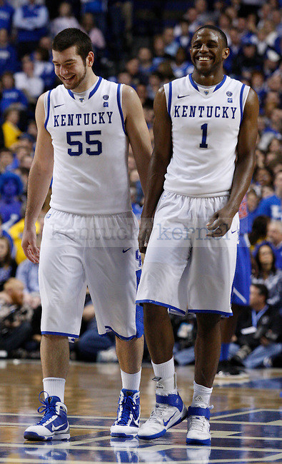 Josh Harrellson and Darius Miller in the second half of the game against Florida, at Rupp Arena, on Saturday, February 26, 2011. Photo by Latara Appleby | Staff