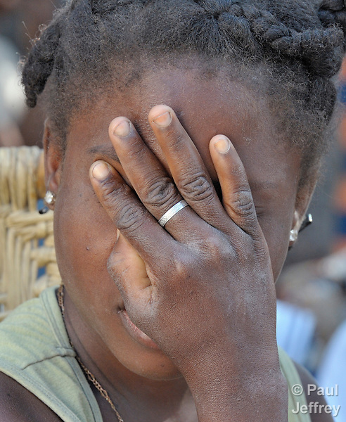 A woman prays during a gathering of people living with disabilities on January 28 in Port-au-Prince. Church World Service and other members of the ACT Alliance are providing special assistance to Haiti's disabled population, which has grown rapidly in the wake of the January 12 earthquake.