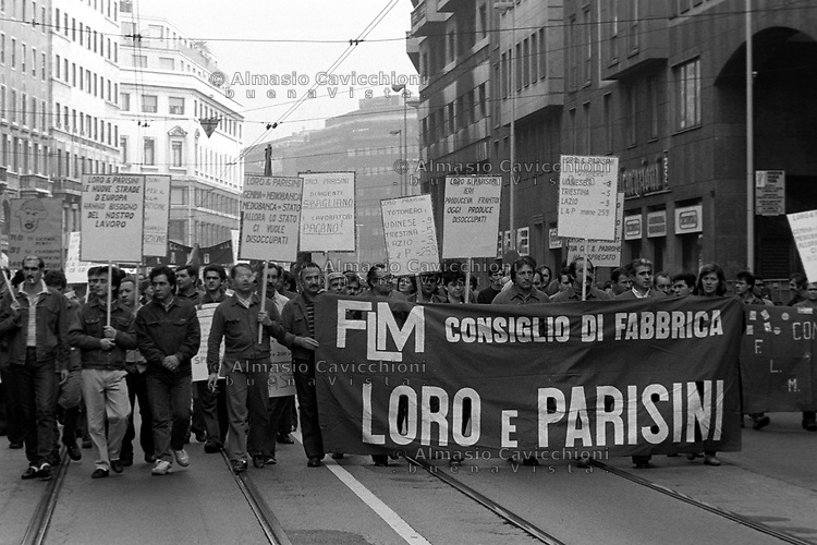 Ottobre 1986 Milano: sciopero generale dei metalmeccanici<br /> October 1986 Milan: general strike of the metalworkers