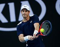14th January 2019, Melbourne Park, Melbourne, Australia; Australian Open Tennis, day 1; <br /> Andy Murray of Great Britain returns the ball during a match against Roberto Bautista Agut of Spain