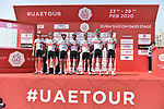 UAE Team Emirates at sign on before Stage 1 of the UAE Tour 2020 running 148km from The Pointe to Dubai Silicon Oasis, Dubai. 23rd February 2020.<br /> Picture: LaPresse/Fabio Ferrari | Cyclefile<br /> <br /> All photos usage must carry mandatory copyright credit (© Cyclefile | LaPresse/Fabio Ferrari)