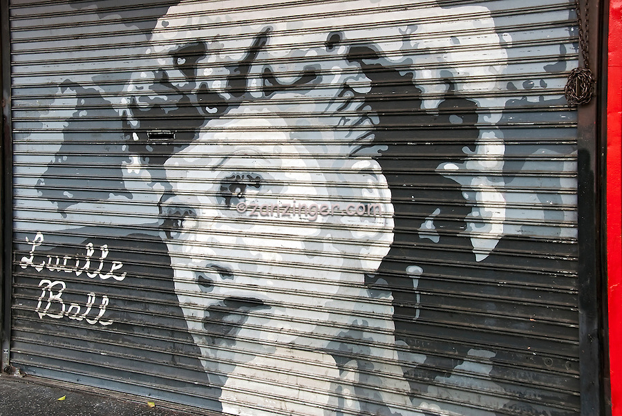 Lucille Ball, celebrity painted portrait on a Roll down Security Door that is only seen when the store is closed