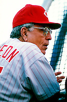 Cincinnati Reds Manager Jack McKeon participates in a Major League Baseball game at Dodger Stadium during the 1998 season in Los Angeles, California. (Larry Goren/Four Seam Images)